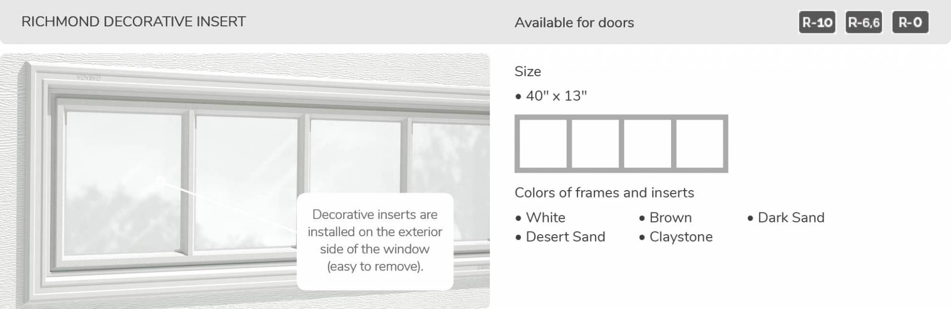 Richmond Decorative Insert, 40' x 13', available for doors R-10, R-6.6, R-0